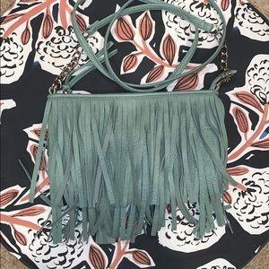 Handbags - Mint green fringe crossbody